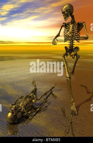3D surreale Skelett Joggen anfällig Sonnenuntergang Ausdauer Kraftausdauer macht Gesundheit - Stockfoto