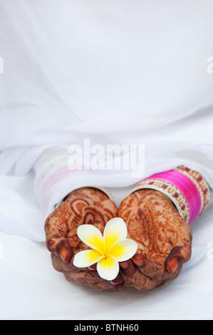 Indisches Mädchen Tragen eines weißen Sari mit Henna hands holding eine Frangipani Blume. Indien - Stockfoto