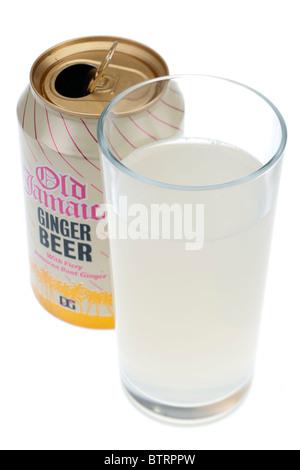 Glas der alten Jamaika-Ingwer-Limonade mit geöffneten Ring ziehen kann