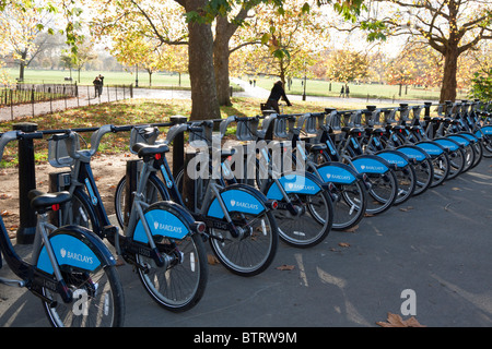 Transport For London Barclays Cycle Hire Docking-Bucht - Hyde Park - London - Stockfoto