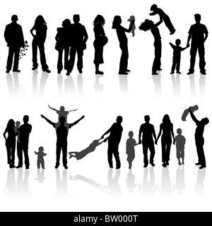 Silhouetten von Frau, Mann, Kinder, Familie, Vektor-Illustration Stockfoto