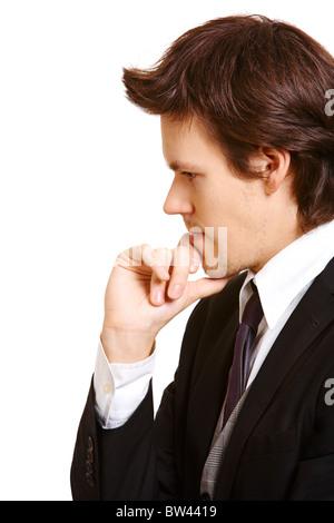 Porträt von nachdenklich Geschäftsmann sein Kinn berühren - Stockfoto