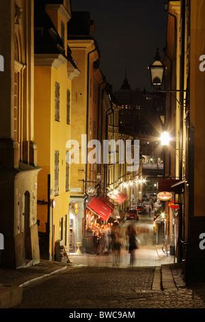 Nachtleben in der Altstadt, Gamla Stan, Stockholm, Schweden - Stockfoto
