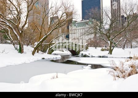 Winter Schnee im Central Park in New York City mit der Plaza Hotel und dem Central Park South Skyline. - Stockfoto