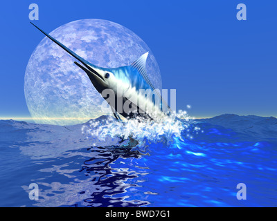 Billfish - ein Blue Marlin platzt aus dem Ozean in einem großen Wasser.