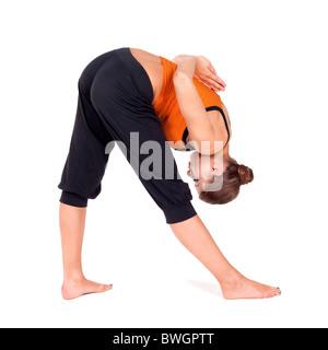 Frau Yoga Übung genannt: Intensive Seitliche Streckung darstellen, Sanskrit Name: Parsvottanasana - Stockfoto