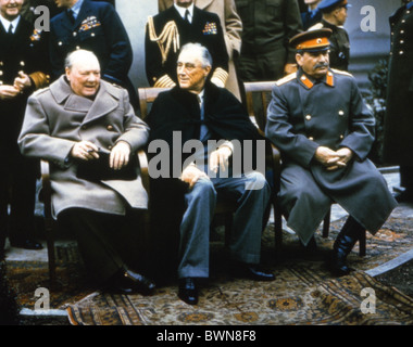 Jalta-Konferenz 1945 Winston Churchill Franklin D. Roosevelt Joseph Stalin Schloss Liwadija British prime minist - Stockfoto