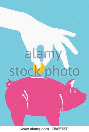 Person, Münze ins Sparschwein - Stockfoto