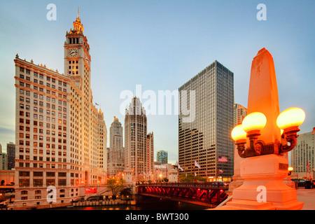Wrigley Building, Tribune Tower, Chicago River, Illinois - Stockfoto