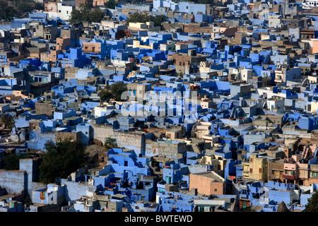Indischen Bundesstaat Rajasthan Jodhpur Stadt Asien reisen Januar 2008 übersehen Übersicht Häuser blau bemalte Stadt - Stockfoto