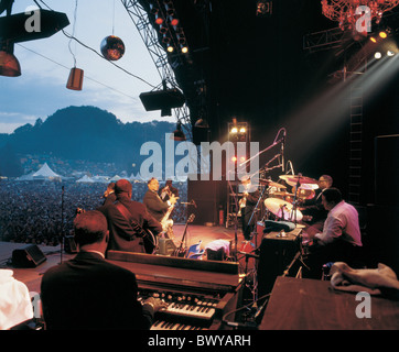 Anordnung Festival Musik Konzert keine Modellfreigabe öffnen Luft St. Gallen Zuschauer Freilichtbühne richtet - Stockfoto