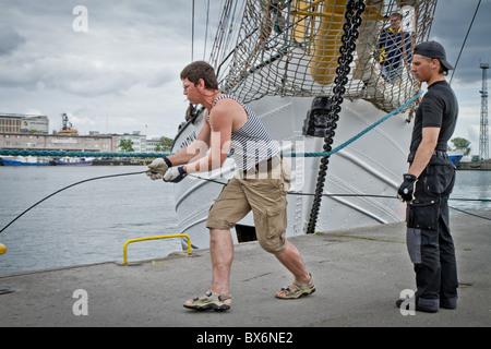 Segler im Hafen von Gdynia, Polen - Stockfoto