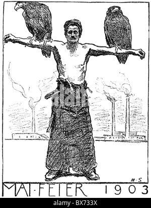 """Politik, Arbeiterbewegung, Erste Mai, Sonderausgabe von """"Vorwaerts"""", Mai, Deutschland, 1.5.1903, Zeichnung von Max - Stockfoto"""
