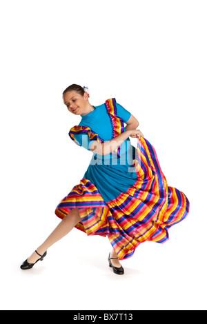 Junges Mädchen in einem traditionellen mexikanischen nationalen Tanzkostüm - Stockfoto
