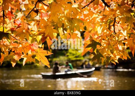 Bootfahren auf dem Ruderboot-See im Central Park im Herbst in New York City. - Stockfoto