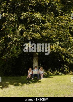 3 Freunde arbeiten unter einem Baum - Stockfoto