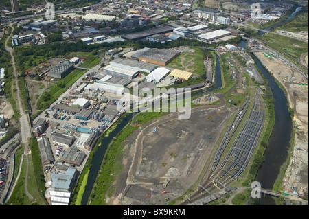 Luftaufnahme des industriellen Einheiten Stratford neben den 2012 Olympischen Park Stratford London UK. 22. Juni - Stockfoto