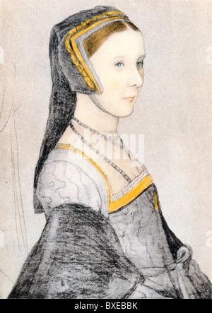 Skizze von Hans Holbein den jüngeren; Porträt von Anne Cresacre im Alter von 16, Ward von Sir Thomas More und späteren - Stockfoto