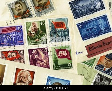 Post, Briefmarken, DDR-Briefmarken, um 1953, Zusatzrechte-Abfertigung-nicht vorhanden - Stockfoto