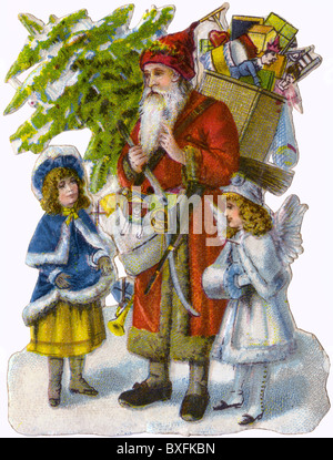 Weihnachten, Weihnachtsmann, Nikolaus, verschrottet, Lithographie, Deutschland, ca. 1898, Additional-Rights - Clearences - Stockfoto