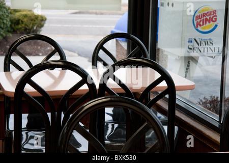 Innere des Burger King Schnellrestaurant - Stockfoto