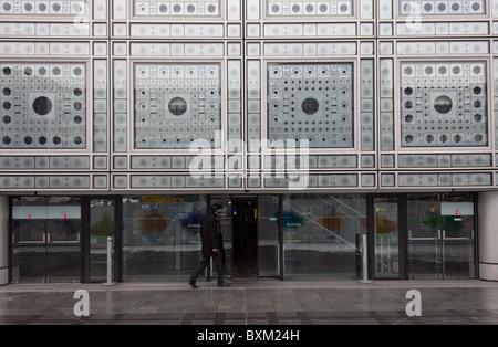 Eingang, Institut du Monde Arabe Gebäude, Paris, Frankreich - Stockfoto