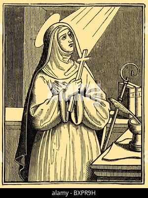 Heilige Hildegard von Bingen (1098 – 1179), christlicher Mystiker, deutscher Benediktiner Äbtissin, Visionär und - Stockfoto