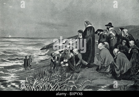 Die Pilger am Plymouth beobachten der Mayflower für England im April 1621 abzuweichen. - Stockfoto