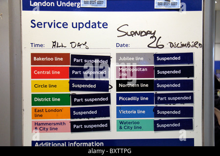 Service-Update-Hinweis auf eine London Transport Streiktag in Ealing Broadway u-Bahnstation London. Dez 2010 - Stockfoto