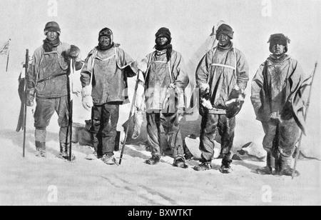 Robert Falcon Scott und Mitglieder seiner Terra-Nova-Expedition 1910-1913 am Südpol in der Antarktis im Januar 1912. - Stockfoto