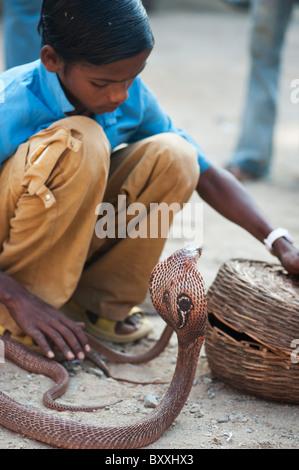 Schlechte untere Kaste indischer Junge betteln mit brillenbär Cobra auf einer India Street. Andhra Pradesh, Indien - Stockfoto