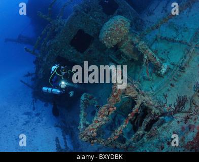 Vordeck Doc DeMille Schiff Wrack, Key Largo, Karibik, Florida, USA - Stockfoto
