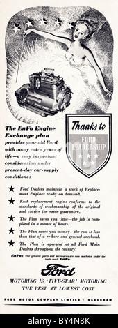 1950er Jahren Werbung für Ford Motor Company EnFo Motor Austausch plan - Stockfoto