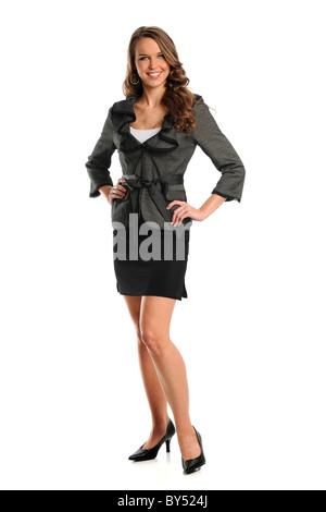 Schöne Geschäftsfrau lächelnd isoliert auf weißem Hintergrund - Stockfoto