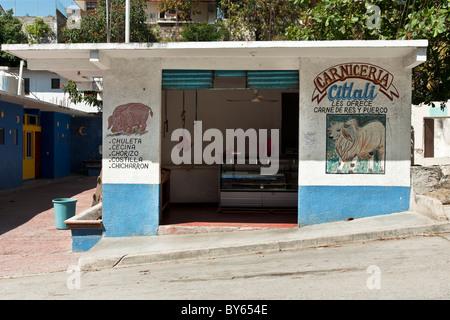 bunte Metzgerei Carnceria mit schönen Wandmalereien von Schwein & Kuh auf beiden Seiten des öffnen Tür Puerto Angel - Stockfoto