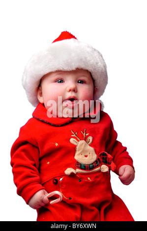 Baby gekleidet in Santa Weihnachten Anzug - Stockfoto