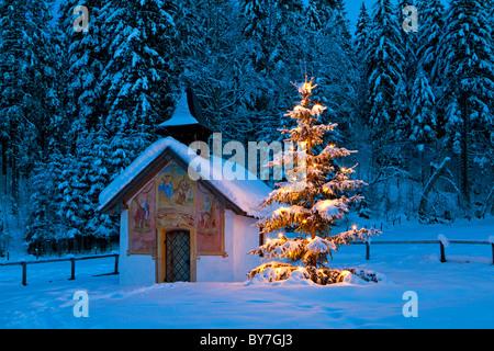 kapelle mit weihnachtsbaum im winter in der n he von krun. Black Bedroom Furniture Sets. Home Design Ideas