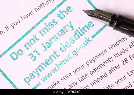 Hmrc Steuer Frist 31 Januar Zahlungserinnerung Stockfoto Bild