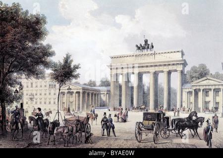 Blick auf Berlin, Brandenburger Tor, um 1850, historisches Stadtbild, Stahlstich erstellt im 19. Jahrhundert, Deutschland, - Stockfoto