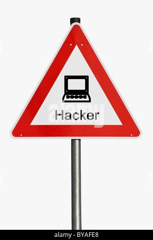 Warnschild mit einem Notebook, Hacker - Stockfoto