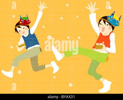 Abbildung von zwei Jungen spielen und tragen Masken - Stockfoto