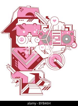 Beispiel für einen rosa Charakter einem Ghettoblaster anhören - Stockfoto