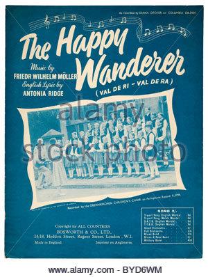 """Alten verblichenen Noten vordere Abdeckung von 1954 mit dem Titel """"The Happy Wanderer"""" (Val de ri-Val de Ra). EDITORIAL - Stockfoto"""