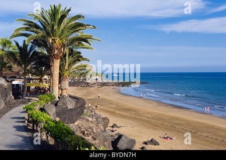 Strand Playa Grande, Puerto del Carmen, Lanzarote, Kanarische Inseln, Spanien, Europa - Stockfoto
