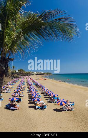 Sonnenschirme am Sandstrand, Playa Grande, Puerto del Carmen, Lanzarote, Kanarische Inseln, Spanien, Europa - Stockfoto