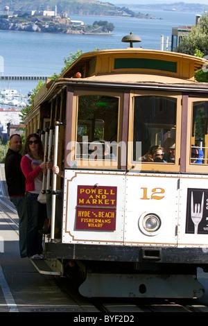 Seilbahn in der Stadt San Francisco, Kalifornien, USA. - Stockfoto
