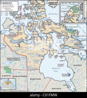 Physische Karte von Nunavut - Stockfoto