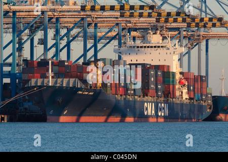 Internationalen Handel über den Seeverkehr. Das containerschiff CMA CGM Jade am Malta Freeport - Stockfoto