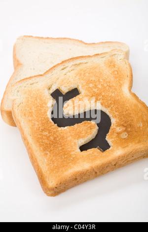 Brot Scheibe mit Dollarzeichen, Konzept Höchstkurs von Essen oder Essen für Unternehmen