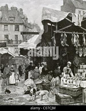 Frankreich. Paris. Markt. Kupferstich, 1869. - Stockfoto